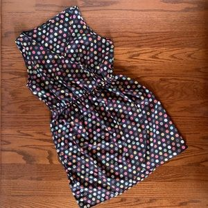 Cute faux wrap sleeveless polka dot dress